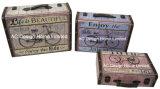 S/3 оформлены старинной Vintage Glider дизайн печати фиолетового цвета кожи/MDF деревянные окна чемодан для хранения данных