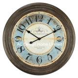 Vintage ronds rouge vif antique en bois décoration murale Horloge