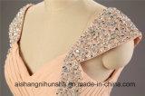 Бусинковый спай Floor-Length невесты платья ремни шифон A-Line кристаллов группа платья