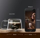 Nueva taza claramente de cristal creativa de la pared del doble de la taza de café para el departamento