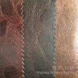 Tissu 100% bronzé par filé d'imitation de polyester de cuir de suède pour des meubles