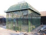Gazebo vert en fer forgé galvanisé, serre de fer à grande taille