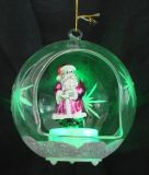 LED Light (KL90226-22-10)를 가진 유리제 Christmas Father Ornament