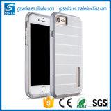 Caisse duelle lourde en métal de couche de qualité avec Stander pour l'iPhone 7