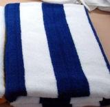 100% coton bleu et blanc 21s Serviette de plage de bande