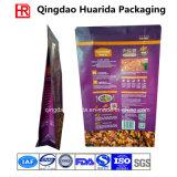 Sac de empaquetage en plastique inférieur carré d'aliments pour chiens avec la tirette de guichet
