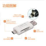 1つのタイプCカード読取り装置に付きC USB Microusbのカード読取り装置SD SDHC Sdxc Microsd/SDHC/Sdxc 3つをタイプしなさい