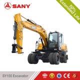 Sany Sy155 15.5 Ton Mini Excavadora de ruedas con 0,4 m3 de la cuchara de la cuchara de maquinaria de movimiento de tierra