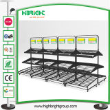 Supermaket Store Metal Fruit Vegetable Display Rack com cesta