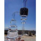 Neuestes Entwurfs-Ölplattform-rauchendes Wasser-Glasrohr mit goldenem Firmenzeichen