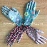 De afgedrukte Polyester breide de Hoogste Geschikte Handschoenen van de Tuin met Wit Pu op Palm