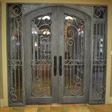 La main forgé de portes en fer forgé avec isolation en verre à double volet