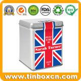 O chá da tarde inglês Tin para chá metálicas quadradas EMBALAGEM DO CANISTER