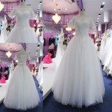 Parte superior de perolização gama alta fora do vestido de casamento nupcial do vestido de esfera do ombro