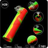 La mano del tubo de silicona nuevo rodillo de tubo de goma con el tazón de vidrio para el tabaco fumar hierba hierba