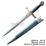 Decoração medieval 40cm da HOME da espada do cavaleiro da espada maçónica