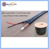 2 em 1 de PVC CCTV cabo RG59+Power
