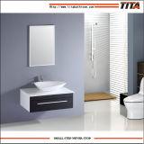 De goedkope Europese MDF van het Kabinet Muur zette de Moderne Ijdelheid van de Badkamers met Ceramische Gootsteen op