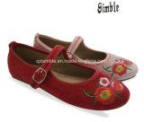 中国の従来型のスエードの上部の子供のバレリーナのダンスパーティーの靴
