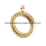 De gouden Tegenhanger van de Charme van het Medaillon van het Roestvrij staal Drijvende