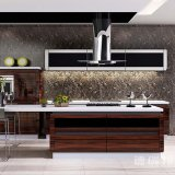 Cabina de cocina de madera de los muebles de Brown del color de la alta laca casera del lustre