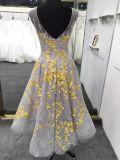Robe de mariage jaune de soirée de longueur de genou d'étage