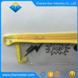 Imprimé personnalisé PVC transparent Sac à fermeture éclair avec du tissu Edge