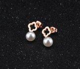 2018粋で簡単なローズの金の女性の親友党誕生日プレゼントの宝石類のためのチタニウムの鋼鉄十字の真珠のスタッドのイヤリング