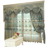 Diseño de Jacquard caliente chenilla clásica europea cortina de ventana de bordado de encaje