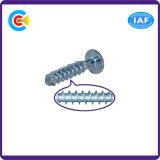 GB/DIN/JIS/ANSI Carbon-Steel 또는 Stainless-Steel 자두 편평한 맨 위 편평한 테일 제국 Self-Tapping 나사