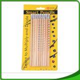 Crayon promotionnel rond/hexagonal de qualité de bureau d'élève d'école avec la gomme à effacer