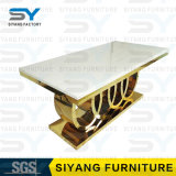 Möbel-gesetzte Gaststätte-metallhaltiger Marmorspitzenspeisetisch