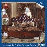 B268 Ruifuxiang Luxuxart-Schlafzimmer-Möbel-blaues ledernes Bett