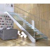 Diseño recto simple moderno de las escaleras, escalera de madera con el pasamano de cristal