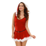 연약한 모피 손질 빨간 산타클로스 테디 및 치마 유액 크리스마스 춤 복장