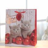 크리스마스 귀여운 작은 고양이 종이 봉지, 손잡이 부대, 선물 종이 봉지