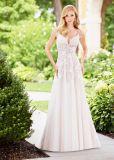 Do jardim frisado da praia de Tulle do vestido do banquete de casamento do laço vestido nupcial N13074