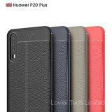 Lychee Huawei P20のための革パターンTPUケースと