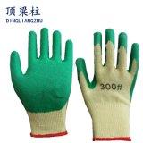 guantes revestidos de la seguridad del látex de la arruga de 21g Polycotton con buena calidad
