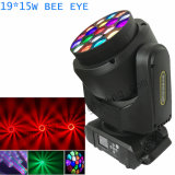 19X15W 큰 꿀벌 눈 LED 이동하는 맨 위 빛