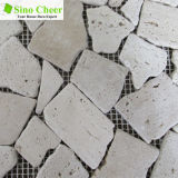 Weißer Travertin-gemischte weiße Marmormosaik-Fliese für Wand