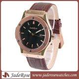 Reloj de acero inoxidable, costumbres de los hombres reloj de pulsera de cuarzo, correa de cuero reloj de pulsera