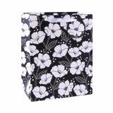 Schwarze PUNKT weiße Blumen-Geschenk-Kleidung bereift Geschenk-Papierbeutel
