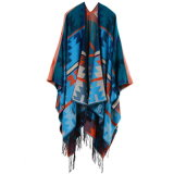 Boheemse Kasjmier van de Poncho van het Blok van de Kleur van vrouwen werpt het Open Voor Algemene zoals Warme Stole van de Kaap dik de Sjaal van de Omslag van de Poncho (SP221)