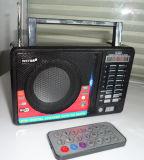 Alto-falante do rádio FM retro com função de gravação TF Slot USB