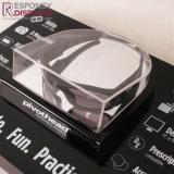 Crémaillère d'étalage noire acrylique en verre de contre- type frais chaud de bruit avec le texte