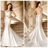 Robe Backless Lb1804 de noce de satin de sirène simple de robe nuptiale