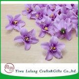 도매 큰 Cattleya 타이 난초 인공 실크 꽃 헤드 백색