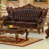Silla de cuero de madera del sofá para los muebles de la sala de estar (513A)