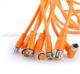 Cable connecteur moulé rectangle femelle de M12 4pin pour l'automatisation d'usine avec la notation IP67